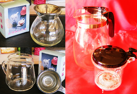 Glass Tea Pots, Glass Tea Maker at Siam Tea Shop; origin: Taiwan; collage