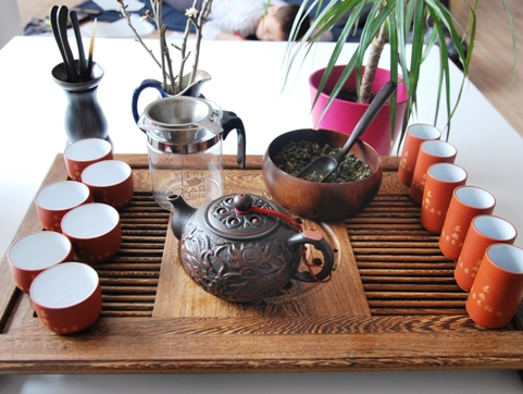 Gong Fu Cha Setup 1, preparation of the Chinese Tea Ceremony
