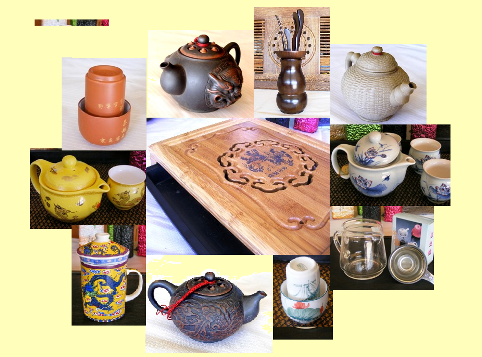 Tea accessories, tea instruments, around the Tea Ceremony, Collage