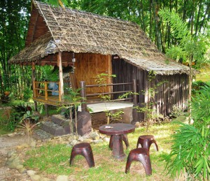 Bamboo bungalow at Pu Tharn Resort, Doi Tung, Mae Fah Luang, North Thailand