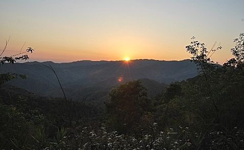 Sunset over Doi Mae Salong, north Thailand