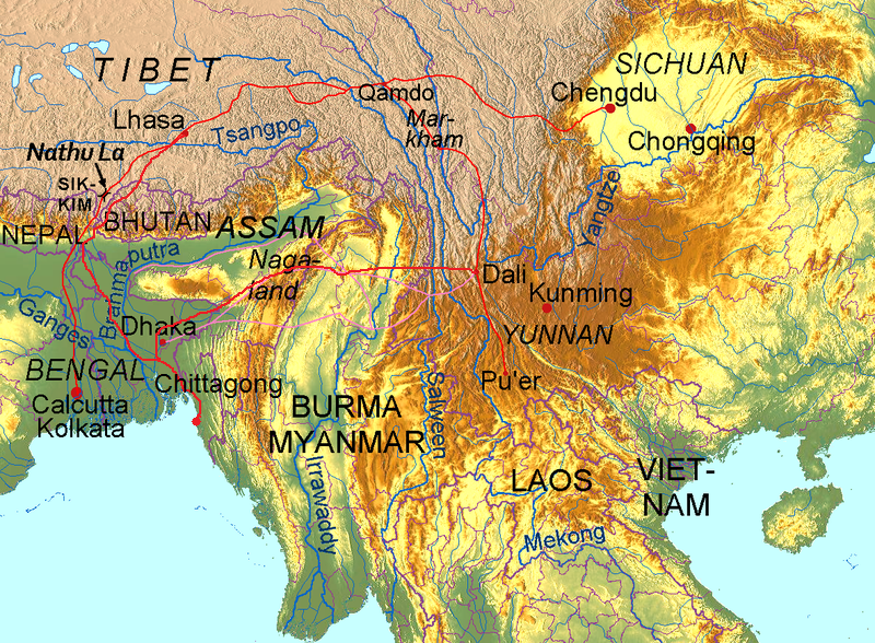 Routes and branches of the ancient tea road from Yunnan and Sichuan to Lhasa in Tibet