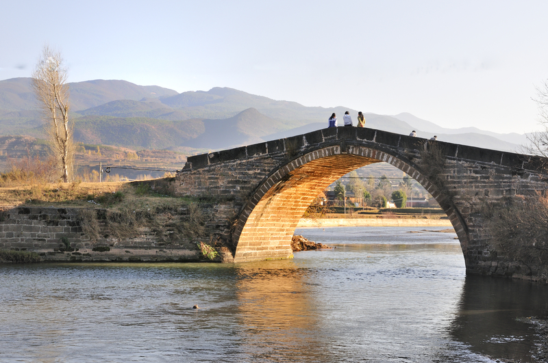 Old bridge at the tea road between Dali and Lijang in Yunnan