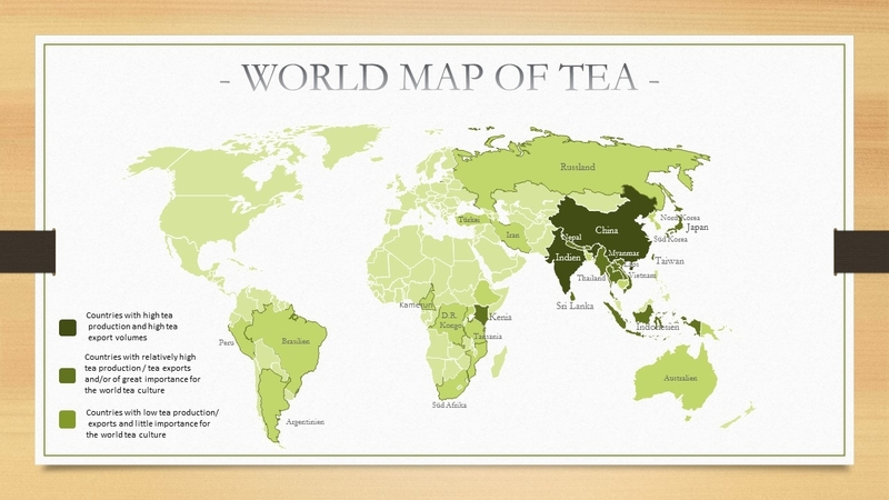 World map of tea cultivating countries