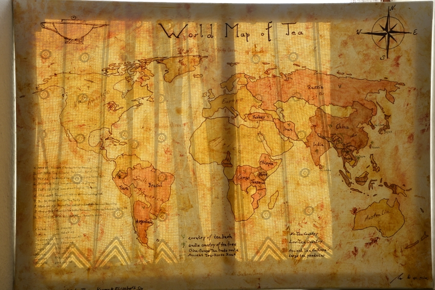 The World Map of Tea - Painted by Artist : sunlight play with curtain