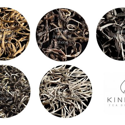 kinnari teas : golden flame black tea, honey hill sheng dark tea, plateau green tea, white moonlight and silver cloud white teas